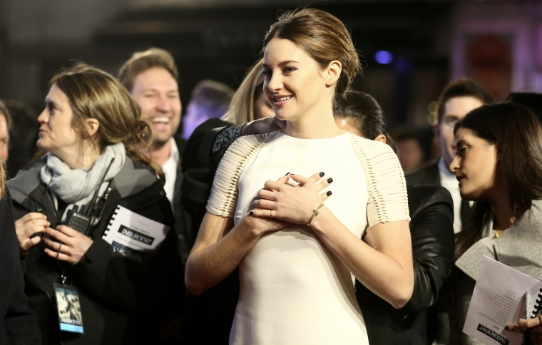 Cast member Shailene Woodley arrives at the World Premiere of 'Insurgent' in central London, March 11, 2015. (Photo by Paul Hackett/Reuters)