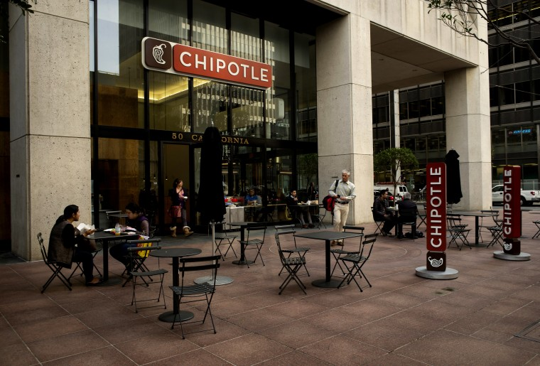 Customers dine outside at a Chipotle Mexican Grill in San Francisco, Calif., Feb. 2, 2015. (Photo by David Paul Morris/Bloomberg via Getty)