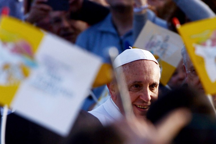 Pope Francis arrives for a meeting with youth and families as part of a pastoral visit on March 21, 2015 in Naples, Italy. (Photo by Filippo Monteforte/AFP/Getty)