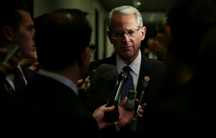 US Rep. Steve Israel talks to members of the media as she arrives at a House Democratic Caucus meeting Dec. 11, 2014 on Capitol Hill in Washington, DC. (Photo by Alex Wong/Getty)