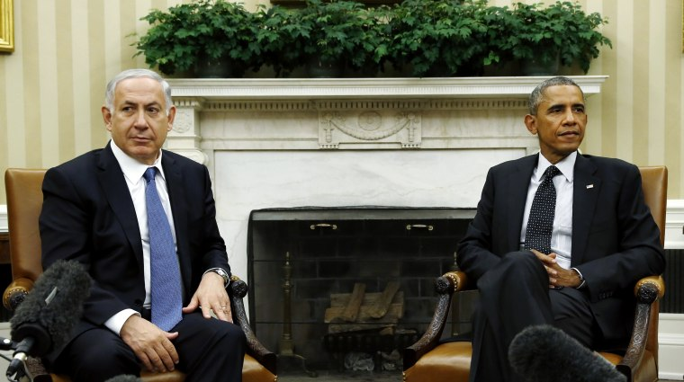 US President Barack Obama meets with Israel's Prime Minister Benjamin Netanyahu at the White House in Washington Oct. 1, 2014. (Photo by Kevin Lamarque/Reuters)