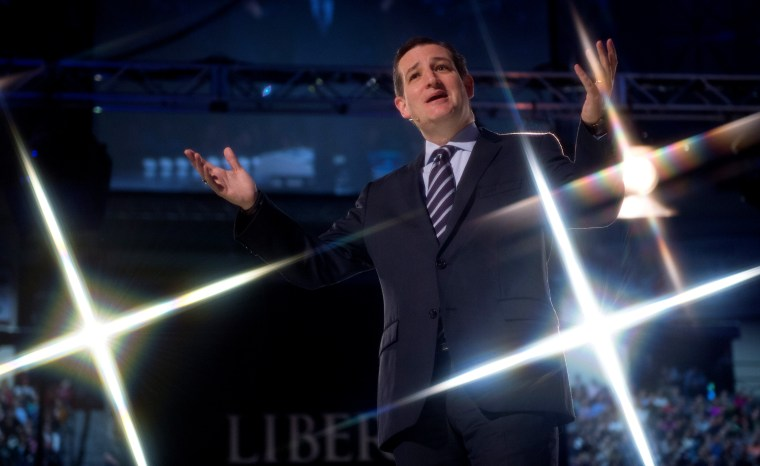 US Senator Ted Cruz (R-TX) delivers remarks before announcing his candidacy for the Republican nomination to run for US President March 23, 2015, at Liberty University, in Lynchburg, Va. (Photo by Paul J. Richards/AFP/Getty)