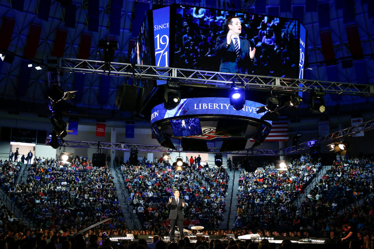 Sen. Ted Cruz, R-Texas announces his campaign for president, March 23, 2015, at Liberty University, founded by the late Rev. Jerry Falwell, in Lynchburg, Va. (Photo by Andrew Harnik/AP)