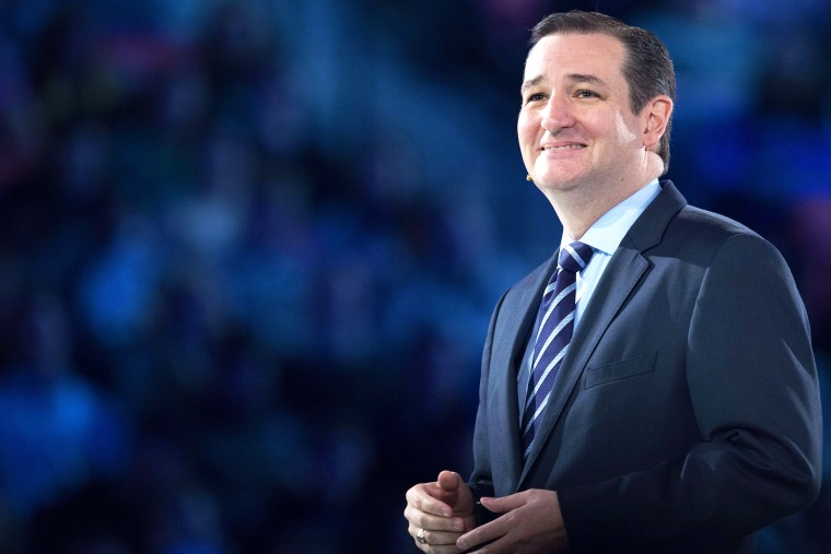 US Senator Ted Cruz (R-TX) smiles at the crowd while delivering remarks announcing his candidacy for the Republican nomination to run for US president March 23, 2015 in Lynchburg, Va. (Photo by Paul J. Richards/AFP/Getty)