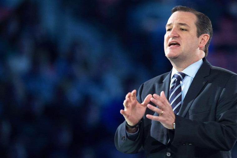 US Senator Ted Cruz (R-TX) delivers remarks announcing his candidacy for the Republican nomination to run for U.S. president March 23, 2015, inside the Vine Center at Liberty University, in Lynchburg, Va. (Photo by Paul J. Richards/AFP/Getty)