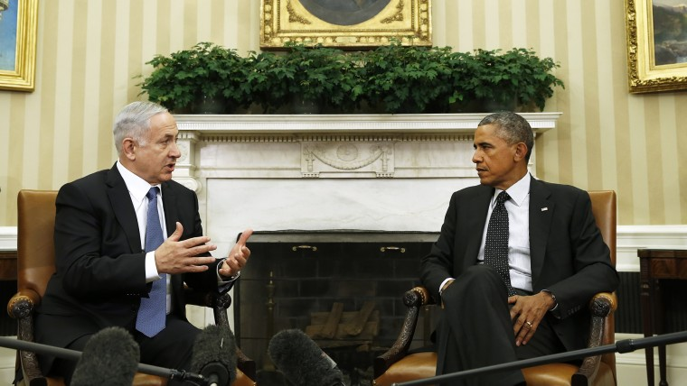 U.S. President Barack Obama (R) meets with Israel's Prime Minister Benjamin Netanyahu at the White House in Washington, D.C., on Oct. 1, 2014. (Photo by Kevin Lamarque/Reuters)