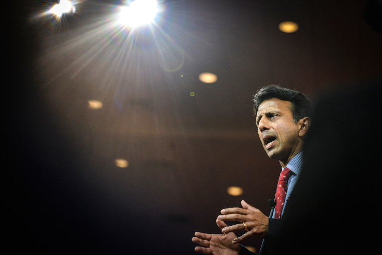 Governor Bobby Jindal (R-LA) addresses a packed house during CPAC2105 (Conservative Political Action Conference) at the Nation Harbor Gaylord on Feb. 26, 2015, in Oxon Hill, Md. (Photo by Jahi Chikwendiu/The Washington Post/Getty)