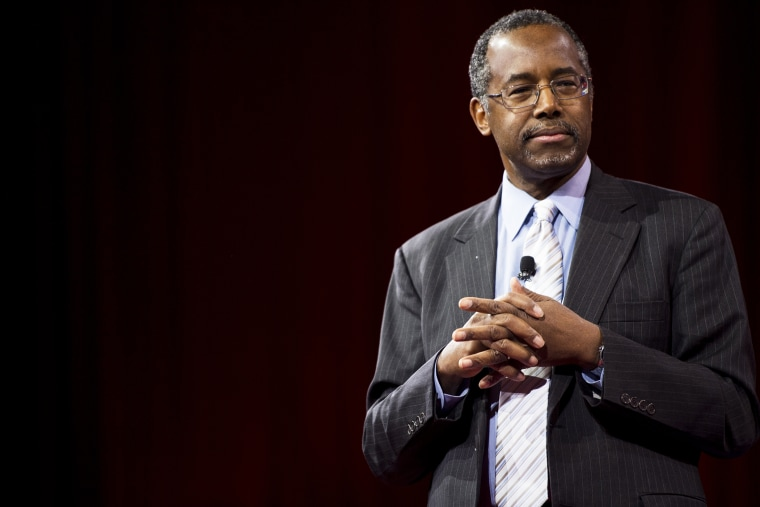 Dr. Ben Carson speaks to address the crowd at CPAC in National Harbor, Md., on Feb. 26, 2015. (Photo By Bill Clark/CQ Roll Call/AP)