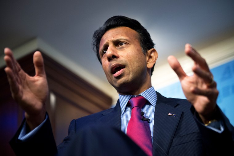 Louisiana Gov. Bobby Jindal (R) delivers a speech at an event on October 6, 2014. (Photo By Tom Williams/CQ Roll Call/AP)