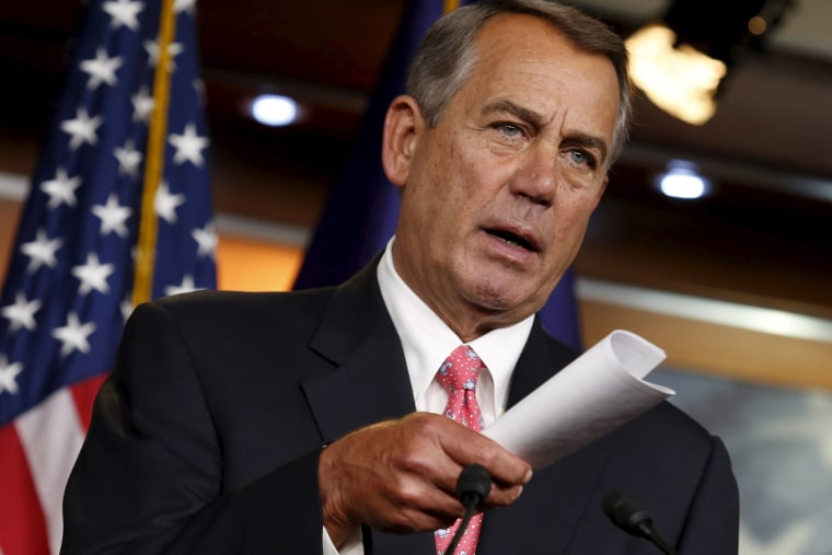 U.S. House Speaker John Boehner (R-OH) speaks at a news conference on Capitol Hill in Washington on March 19, 2015.