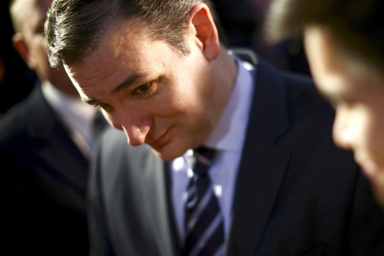Sen. Ted Cruz (R-Texas) after his speech at Liberty University in Lynchburg, Va., on March 23, 2015.