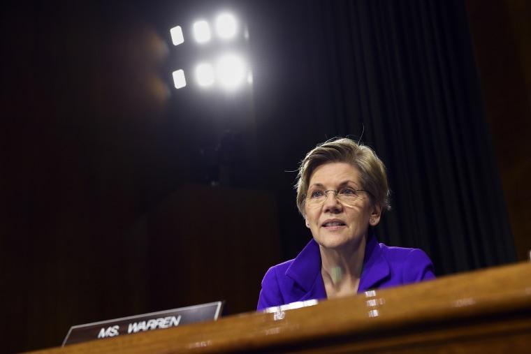 Sen. Elizabeth Warren, D-Mass., listens to testimony on Capitol Hill in Washington, D.C., Feb. 24, 2015.