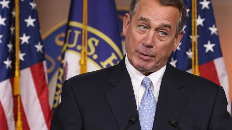 House Speaker John Boehner (R-OH) speaks to the media during a news conference at the U.S. Capitol on March 26, 2015 in Washington, DC. (Photo by Mark Wilson/Getty)