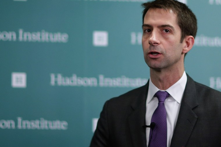 Sen. Tom Cotton (R-AR) participates in a conversation about American foreign strategy and statesmanship at the Hudson Institute on March 18, 2015 in Washington, DC. (Photo by Chip Somodevilla/Getty)