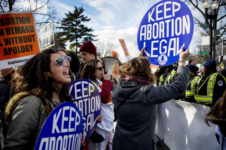 Pro-choice activists at the March For Life, in front of the US Supreme Court in Washington, DC, on Jan. 22, 2015.