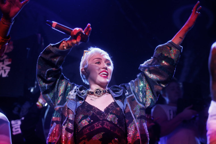 Miley Cyrus appears onstage at the SXSW Music Festival on March 19, 2015 in Austin, Texas.