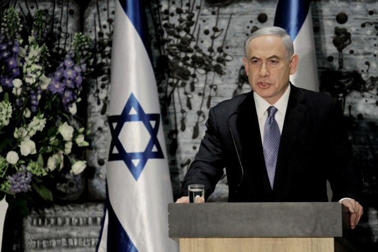 Israeli Prime Minister Benjamin Netanyahu speaks during a ceremony with Israeli President Reuven Rivlin, not seen, in Jerusalem, March 25, 2015. (Photo by Dan Balilty/AP)