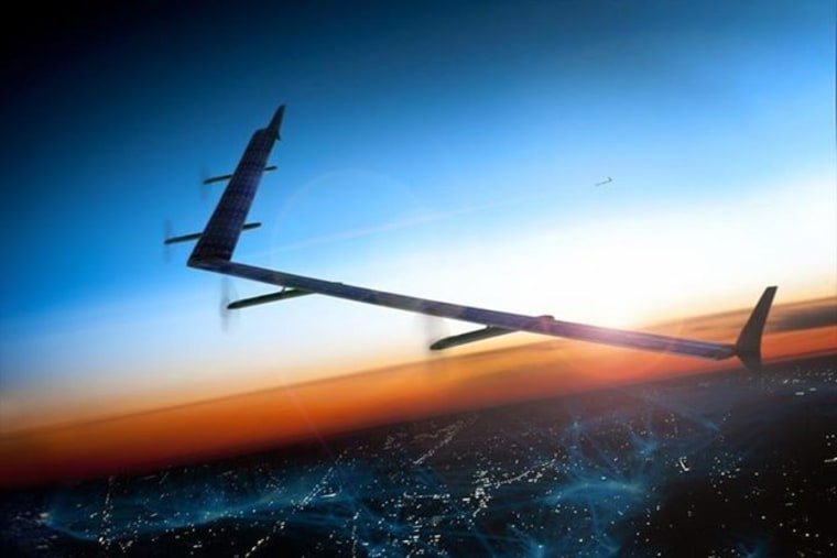 Image of Aquila, Facebook's solar-powered drone, on a test flight over the UK.