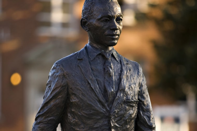 The James H. Meredith statue on the campus of the University of Mississippi in Oxford, Miss. (Photo by Wesley Hitt/Getty)