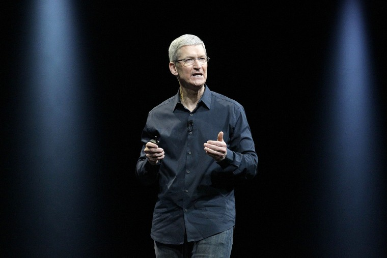 In this June 2 2014 file photo, Apple CEO Tim Cook speaks at an event in San Francisco, Calif. (Photo by Jeff Chiu/AP)