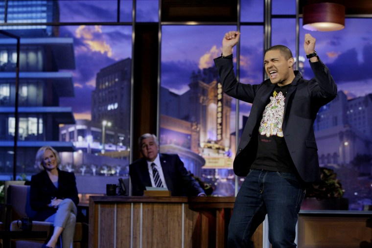 Comedian Trevor Noah performs on The Tonight Show with Jay Leno on Jan. 6, 2012. (Photo by Paul Drinkwater/NBC/NBCU Photo Bank)