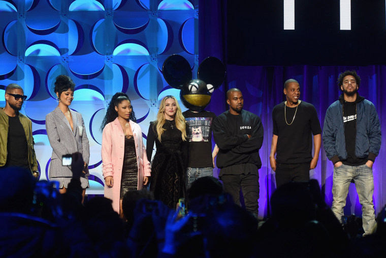 Usher, Rihanna, Nicki Minaj, Madonna, Deadmau5, Kanye West, JAY Z, and J. Cole onstage at the Tidal launch event #TIDALforALL at Skylight at Moynihan Station on March 30, 2015 in New York City.