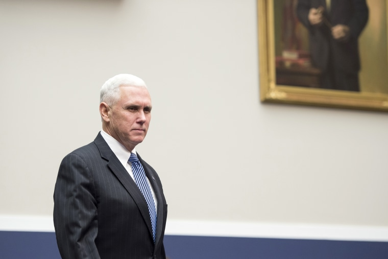 Gov. Mike Pence, R-Ind., arrives to testify during a hearing on Wednesday, Feb. 4, 2015 in Washington, D.C. (Photo By Bill Clark/CQ Roll Call/AP)