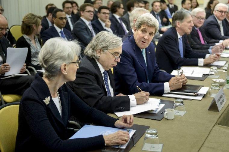 U.S. Under Secretary for Political Affairs Wendy Sherman, U.S. Secretary of Energy Ernest Moniz, U.S. Secretary of State John Kerry in Lausanne on March 31, 2015.
