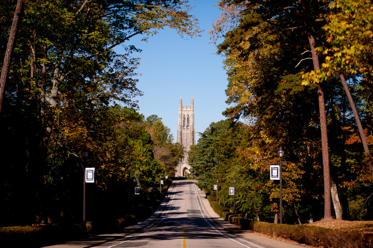 A general view of the Duke University Chapel on campus of Duke University. (Photo by Lance King/Getty)