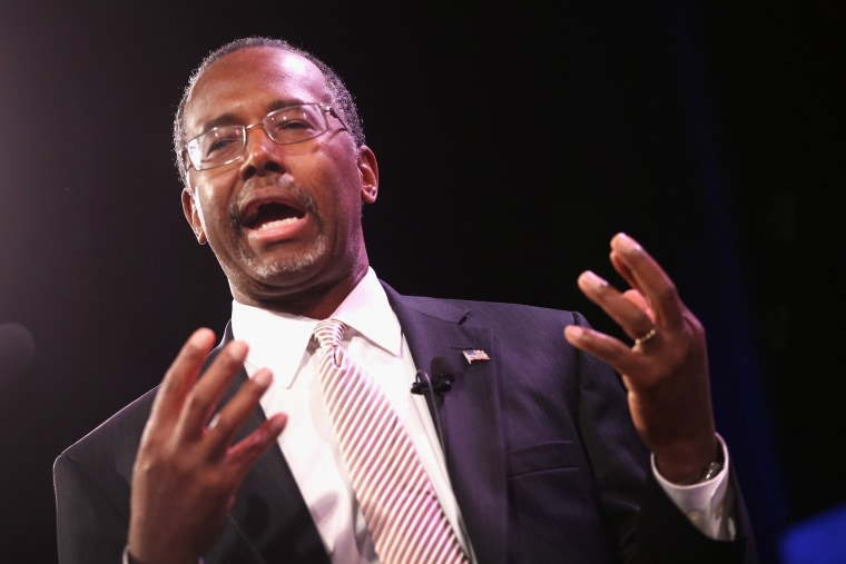 Dr. Ben Carson speaks to guests at the Iowa Freedom Summit on Jan. 24, 2015 in Des Moines, Iowa