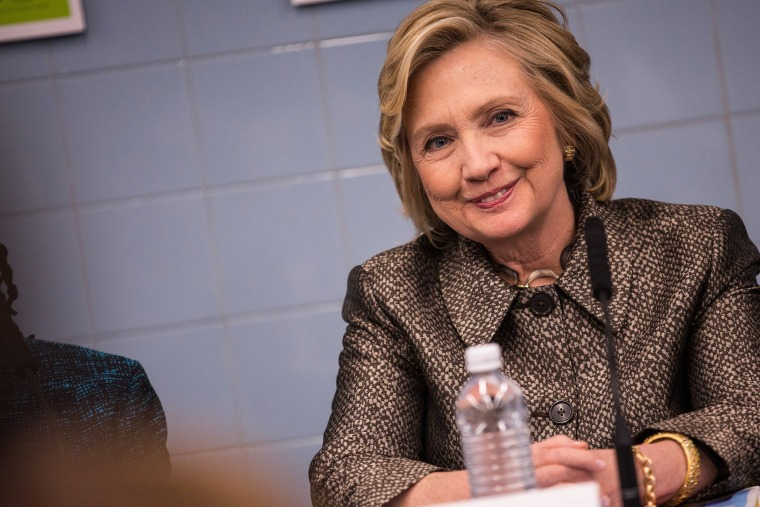 Former Secretary of State Hillary Clinton attends a round table conversation with first lady of New York City Chirlane McCray on April 1, 2015 in New York City. (Photo by Andrew Burton/Getty)