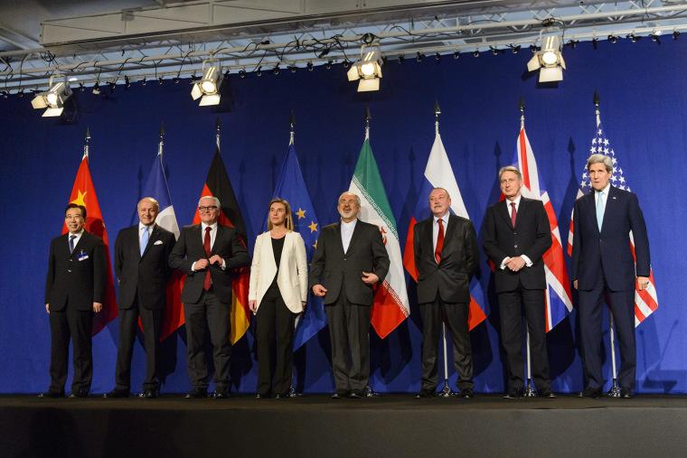 Nuclear Iran Talks in Lausanne, Switzerland (Photo by Jean-Christophe Bott/EPA)