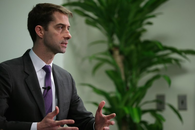 Sen. Tom Cotton (R-AR) participates in a conversation about American foreign strategy and statesmanship at the Hudson Institute on March 18, 2015 in Washington, DC.