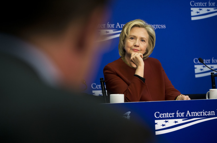 Former Secretary of State Hillary Clinton during an event hosted by the Center for American Progress and the America Federation of State, County and Municipal Employees, in Washington, March 23, 2015. (Photo by Pablo Martinez Monsivais/AP)