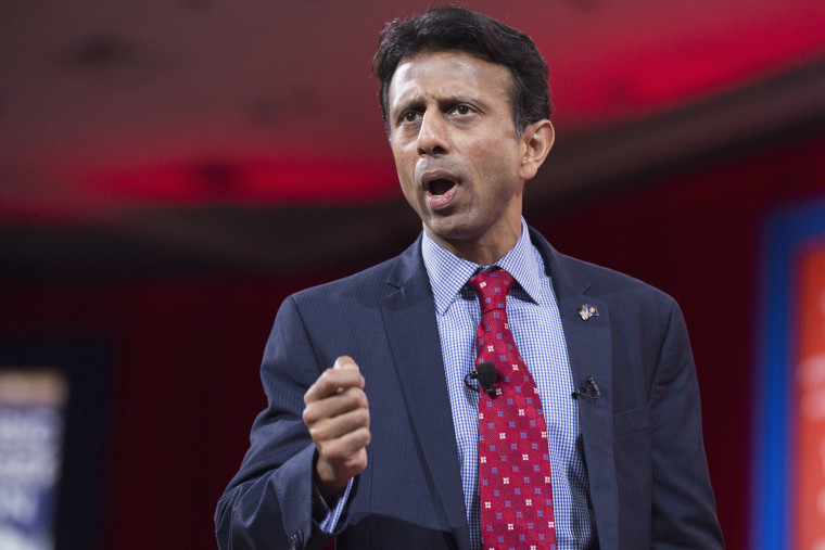 Governor Bobby Jindal arrives to speak at the 42nd annual Conservative Political Action Conference (CPAC) at National Harbor, Md., Feb. 26, 2015. (Photo by Joshua Roberts/Reuters)