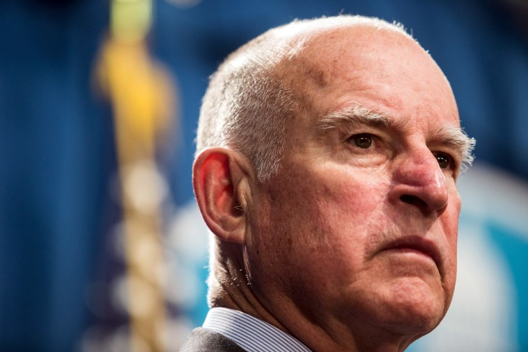 California Governor Jerry Brown during a news conference at the State Capitol in Sacramento, Calif. March 19, 2015, to announce a $1 billion emergency legislative package to deal with the state's drought. (Photo by Max Whittaker/Reuters)