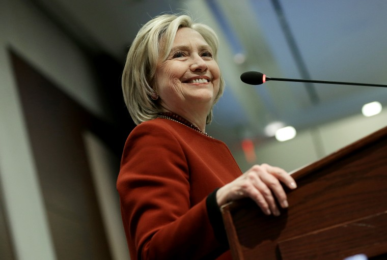 Former US Secretary of State Hillary Clinton speaks at an award ceremony for the 2015 Toner Prize for Excellence in Political Reporting March 23, 2015 in Washington, DC. (Photo by Win McNamee/Getty)