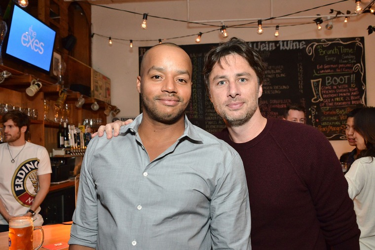 Donald Faison and Zach Braff attend an event on Oct. 27, 2014 in Los Angeles, Calif. (Photo by Araya Diaz/Getty for TV Land)
