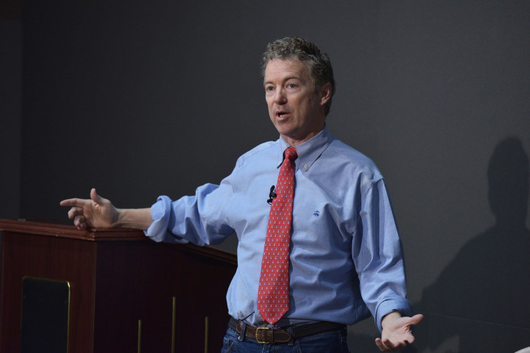 Senator Rand Paul, R-KY, speaks during a discussion on reforming the criminal justice system at Bowie State University in Bowie, Md. on March 13, 2015. (Photo by Mandel Ngan/AFP/Getty)