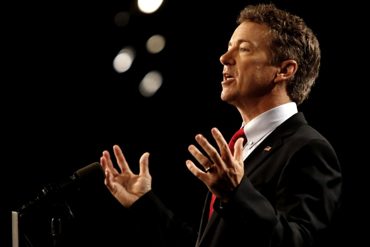 Sen. Rand Paul (R-KY) delivers remarks while announcing his candidacy for the Republican presidential nomination during an event at the Galt House Hotel on April 7, 2015 in Louisville, Ky. (Photo by Luke Sharrett/Getty)