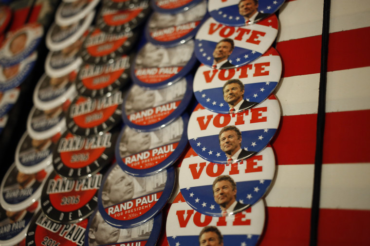 Campaign buttons are displayed for sale outside an event at which Sen. Rand Paul (R-KY) will announce his candidacy for the Republican presidential nomination at the Galt House Hotel on April 7, 2015 in Louisville, Ky. (Photo by Luke Sharrett/Getty)