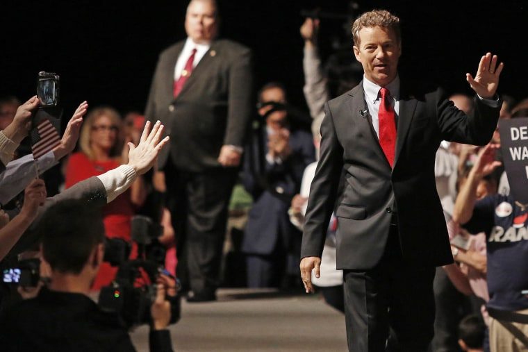 Sen. Rand Paul (R-KY) waves to supporters after taking the stage to announce his candidacy for the Republican presidential nomination during an event at the Galt House Hotel on April 7, 2015 in Louisville, Ky. (Photo by Luke Sharrett/Getty)