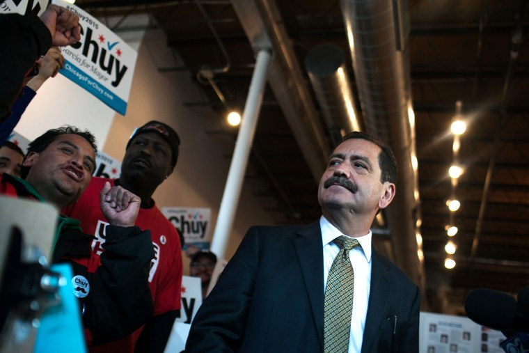 Cook County Commissioner and candidate for mayor of Chicago Jesus 'Chuy' Garcia looks at supporters during a news conference at his campaign office on April 7, 2015 in Chicago, Ill. (Photo by Jonathan Gibby/Getty)