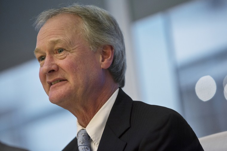 Lincoln Chafee, then-governor of Rhode Island, speaks during an interview in New York on April 29, 2013