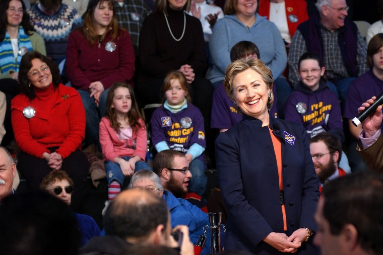 Hillary Clinton attends a town hall meeting at Berlin City Hall on Feb. 10, 2007 in Berlin, N.H.