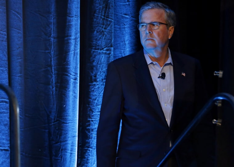 Former Governor of Florida Jeb Bush waits for his introduction at the Iowa Agriculture Summit in Des Moines, Ia., March 7, 2015. (Photo by Jim Young/Reuters)