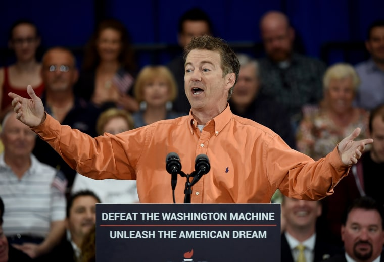 Republican presidential candidate US Sen. Rand Paul (R-KY) speaks during a rally at the Desert Vista Community Center on April 11, 2015 in Las Vegas, Nev. (Photo by Ethan Miller/Getty)