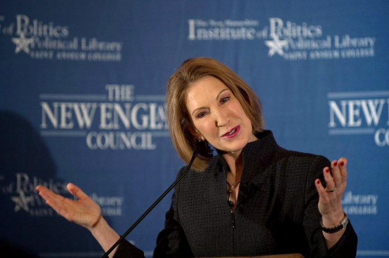 """Former Hewlett-Packard Chief Executive Carly Fiorina speaks at the New England Council's """"Politics and Eggs"""" breakfast in Bedford, N.H., Feb. 10, 2015. (Photo by Gretchen Ertl/Reuters)"""