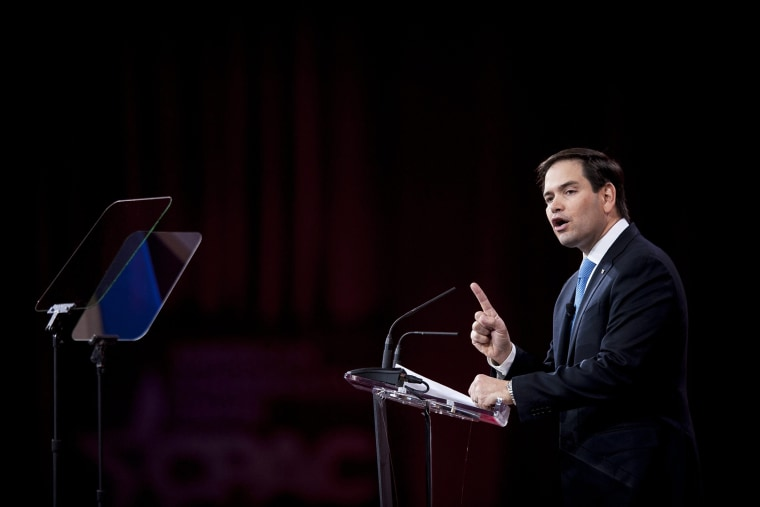 Marco Rubio (R-Fla.) addresses the American Conservative Union's 42nd Annual Conservative Political Action Conference (CPAC) at National Harbor, Md., Feb. 27, 2015. (Photo by Pete Marovich/EPA)