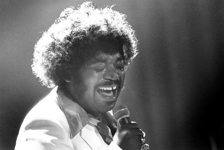 American R&B and soul singer Percy Sledge in concert in London, circa 1975. (Photo by Val Wilmer/Redferns/Getty)
